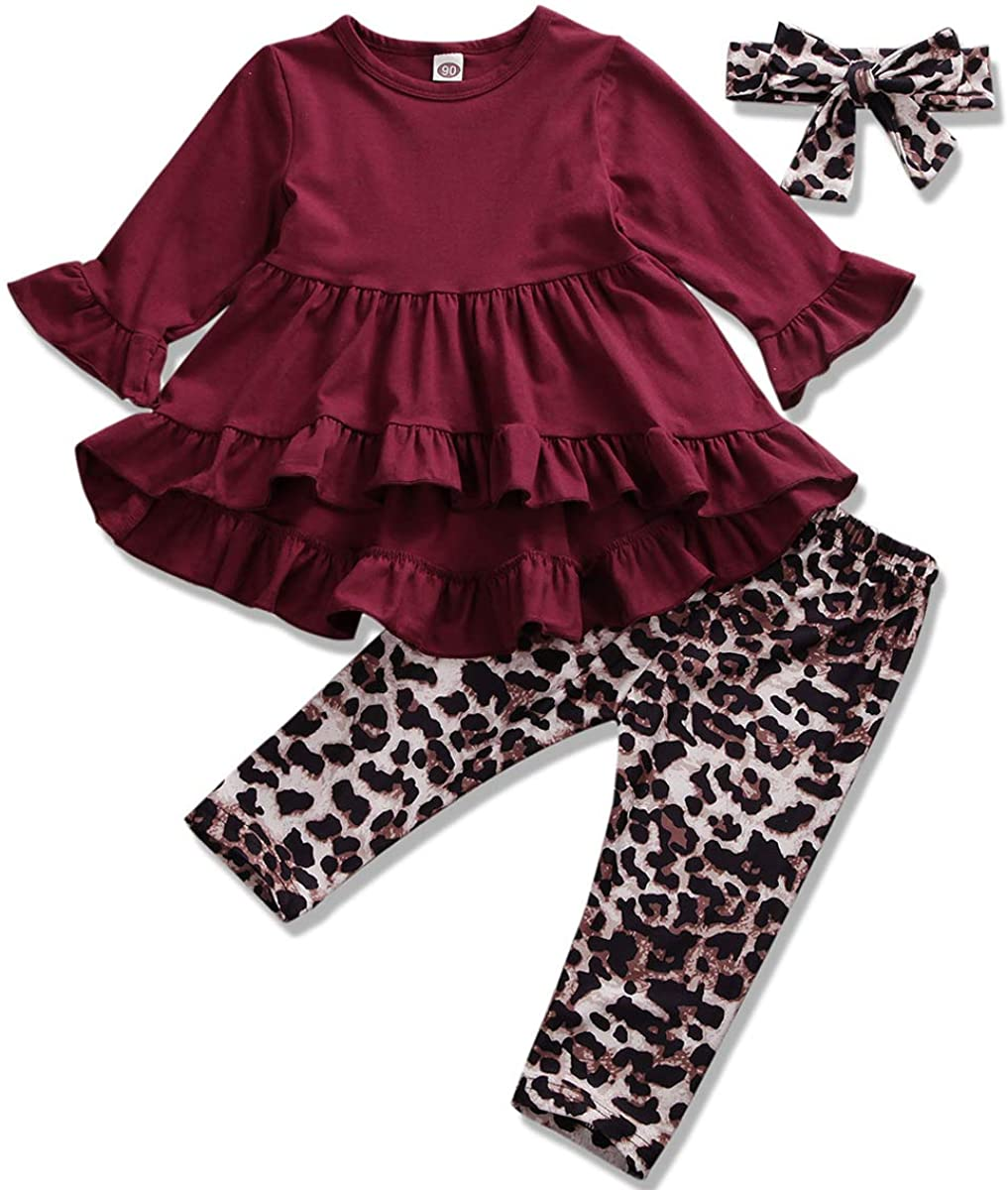 Toddler Baby Girls Clothes Ruffle Flare Tunic Dress Tops Long Sleeve Solid Shirt Floral Leggings Pants Fall Winter Outfits