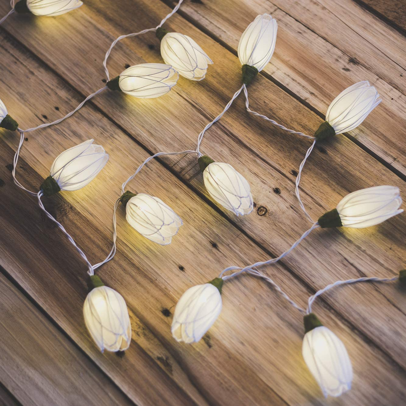 Flowerglow White Tulip Flower Battery Operated LED String Lights - Warm White LED Bulbs with A 50,000 Hour Lifespan - Luxury Handmade Fairy Lights for Home, Bedroom, Birthday, Wedding, Christmas