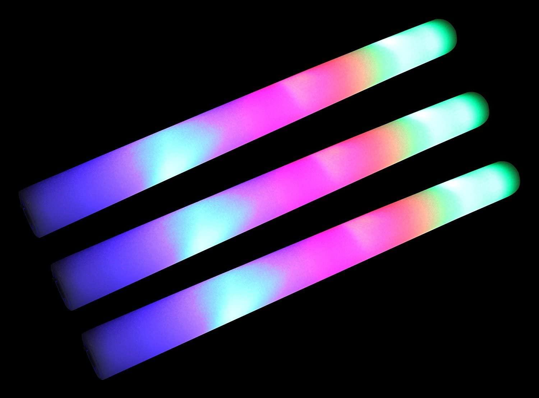 12 Pack of 18 Multi Color Foam Baton LED Light Sticks - Multicolor Color Changing Rally Foam 3 Model Flashing