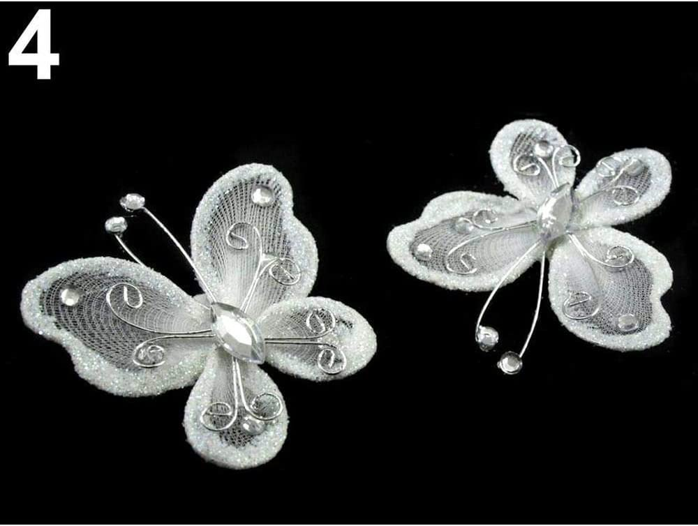 2pc White Applique Butterfly 5x5.5cm with Safety Pin, Curtain Accessories, Haberdashery