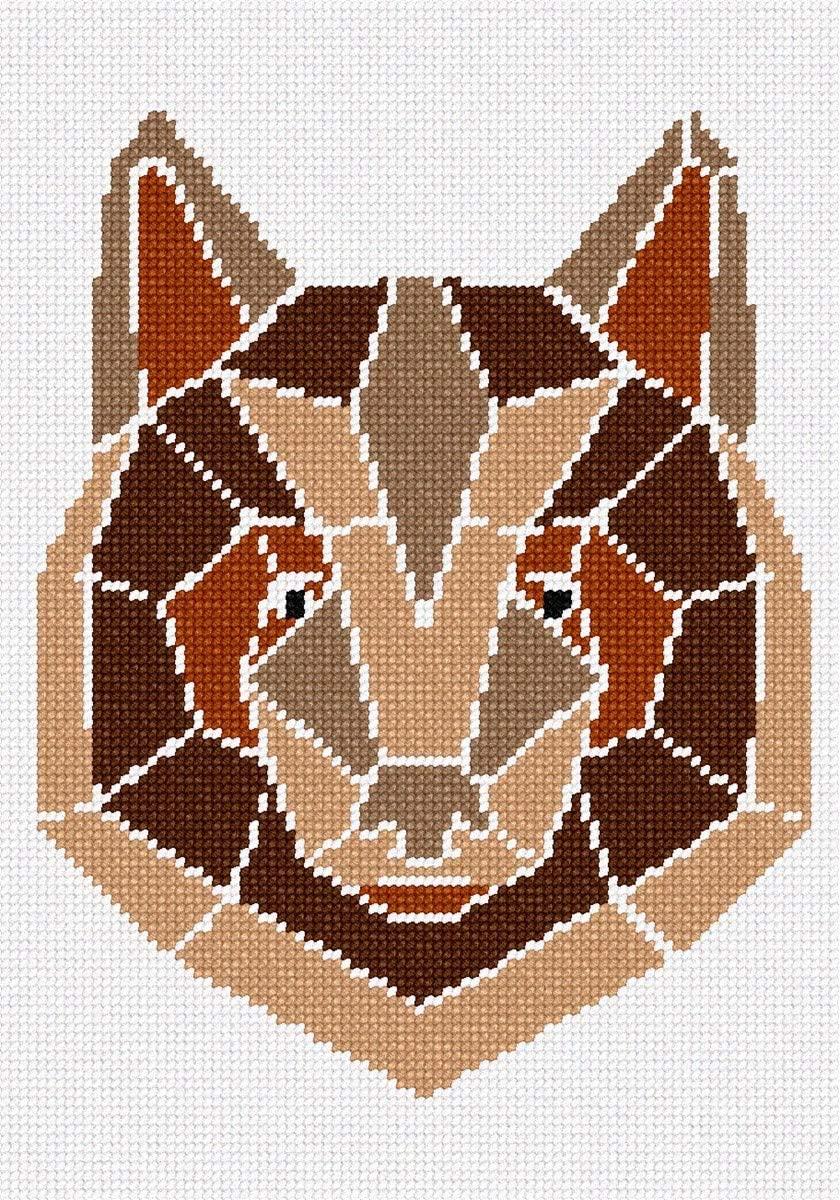 pepita Bear in Geometric Needlepoint Canvas