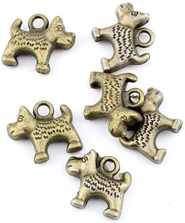 Qty:1PC Antique Bronze Jewelry Making Charms Findings Supplies Wholesale Ancient Fashion Bulk Bronze Retro Supply Z72949 Puppy Dog