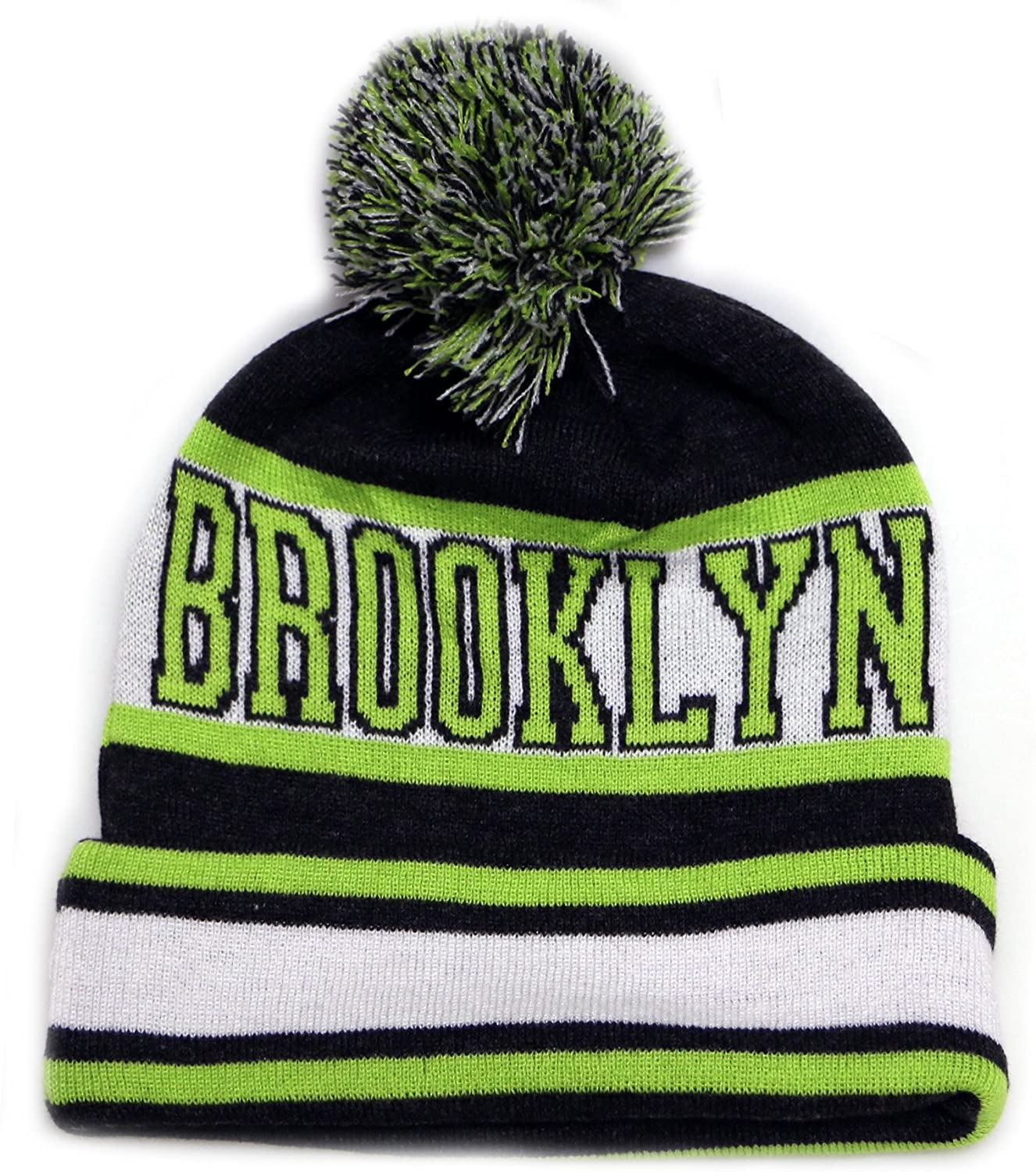 City Hunter Sk1130 Brooklyn Stripes Pom Pom Beanie Hats - Dark Grey/lime