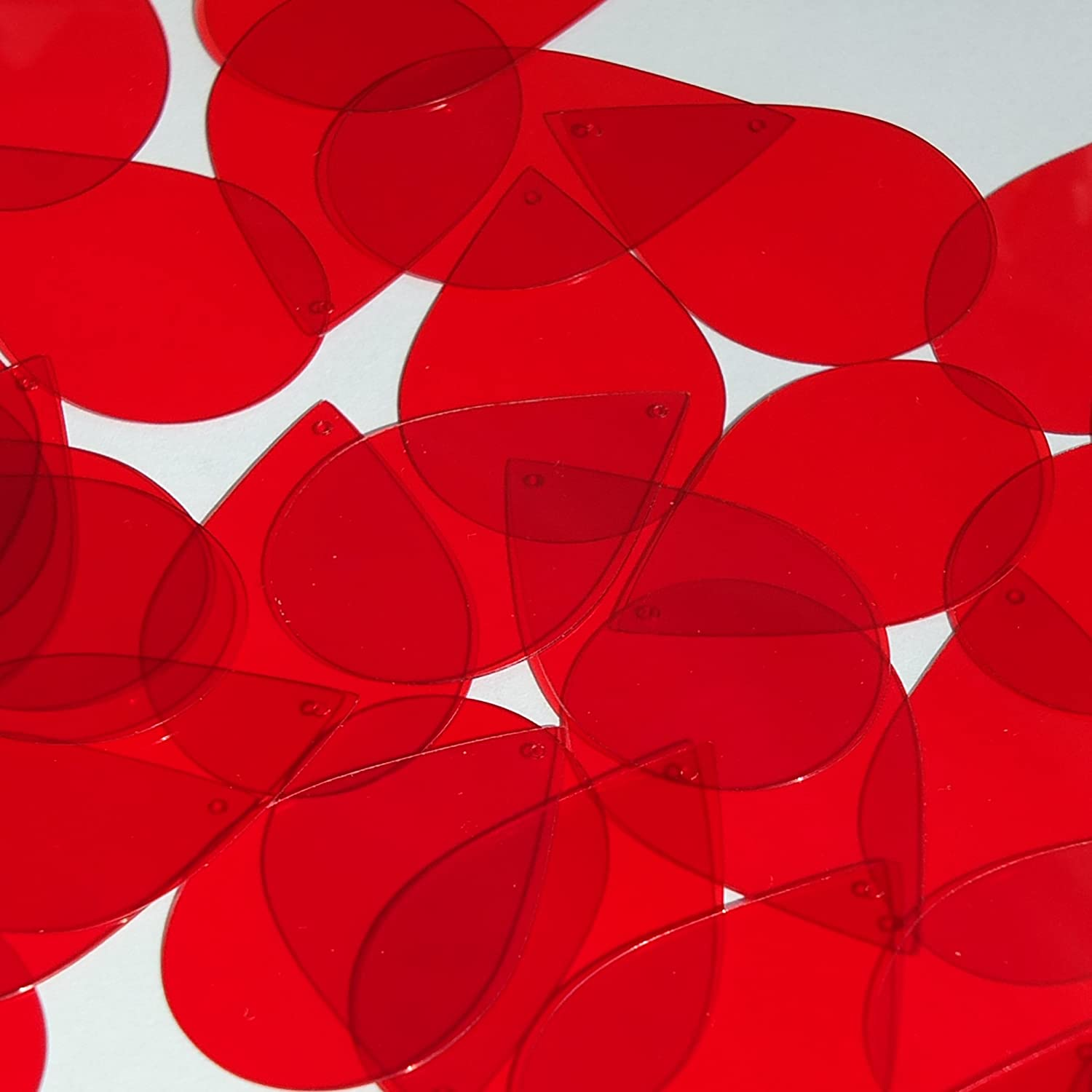 Teardrop Sequin 1.5 Red Transparent Glossy See-Thru Loose Couture Paillettes
