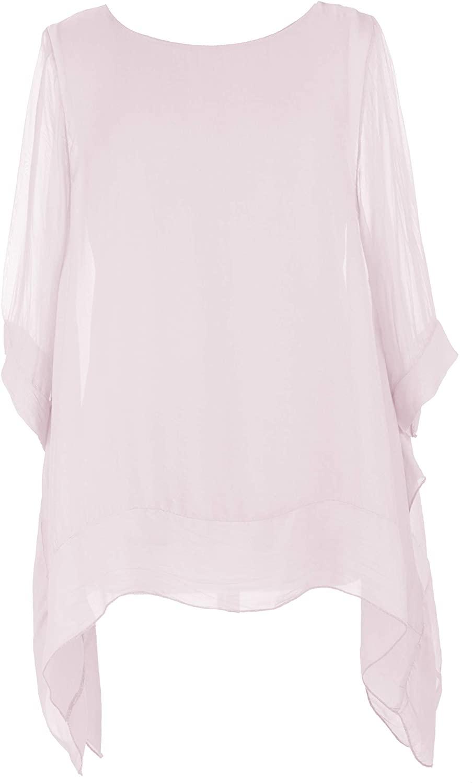 Ladies Womens Italian Lagenlook Short Sleeve Silk Panel Hem Flowy Kaftan Tunic Top Blouse One Size