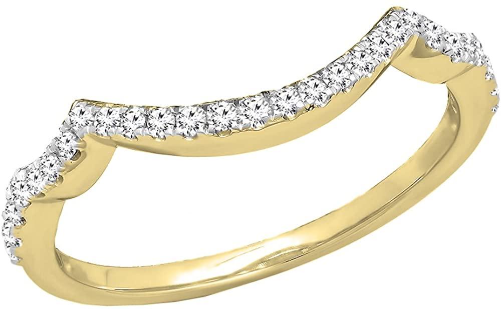 0.20 Carat (ctw) DGLA Certified Round White Diamond Ladies Wedding Contour Guard Band 1/4 CT, 10K Gold