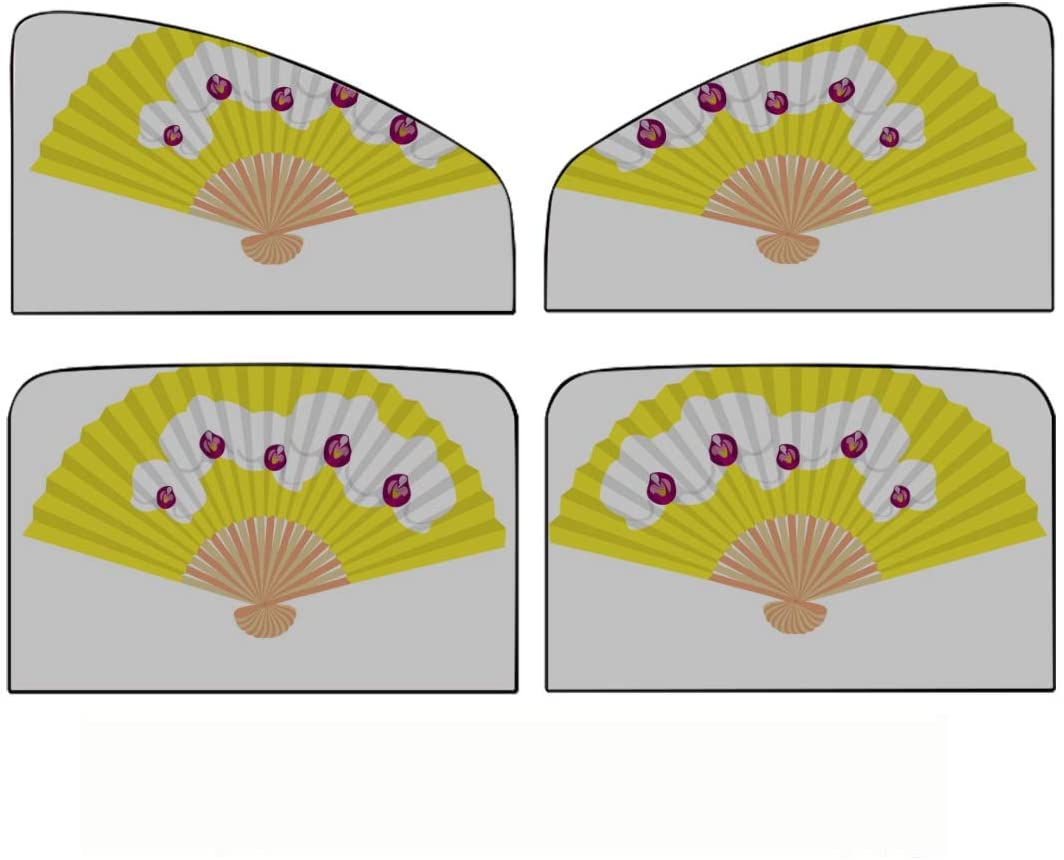 Car Side Window Sun Shade,4pcs Fancy Yellow Hand Fan White Orchids Universal Magnetic Curtain with Sun Protection,Maximum Protect Your Baby, Kids and Pets Fit for Most of Cars
