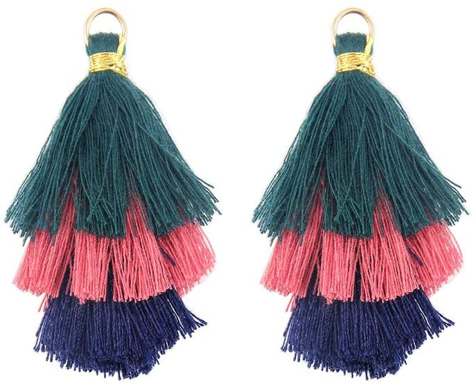 Mystart 10 Pieces Tri-Layered Cotton Thread Tassels Pendants with Gold Jump Ring Jewelry Earrings Making Charms Bag Cellphone Decorations (A#)