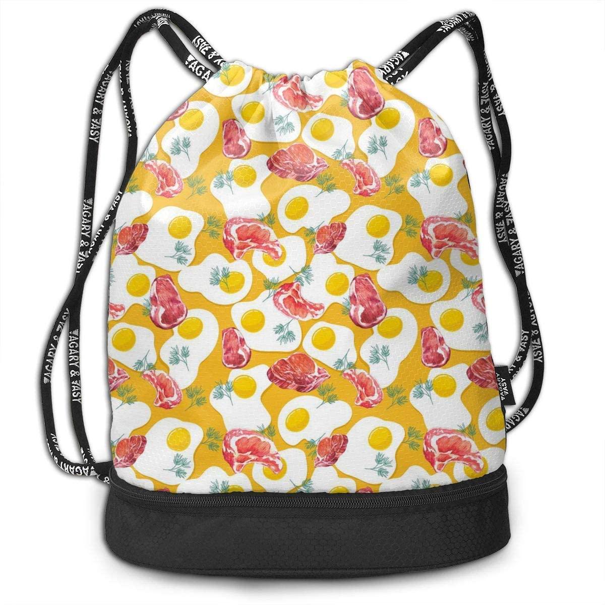 Bundle Backpacks Beef Steak Egg Gym Sack Drawstring Bags Casual Daypack Yoga Bag School Training Pouch