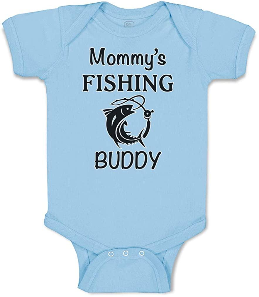 Custom Baby Bodysuit Mommy's Fishing Buddy Mom Mothers Cotton Boy & Girl Clothes
