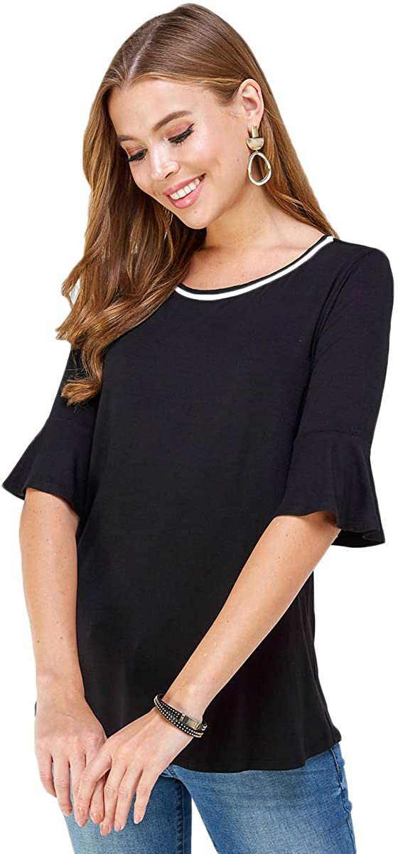 Womens Casual Basic Blouse Knit Elbow Bell Sleeve Shirt Stylish Round Neck Contrasted Ringer Top
