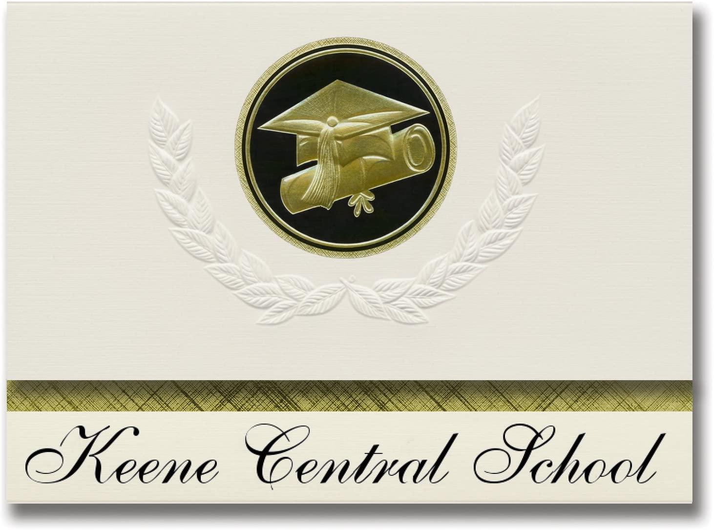Signature Announcements Keene Central School (Keene Valley, NY) Graduation Announcements, Presidential style, Elite package of 25 Cap & Diploma Seal Black & Gold