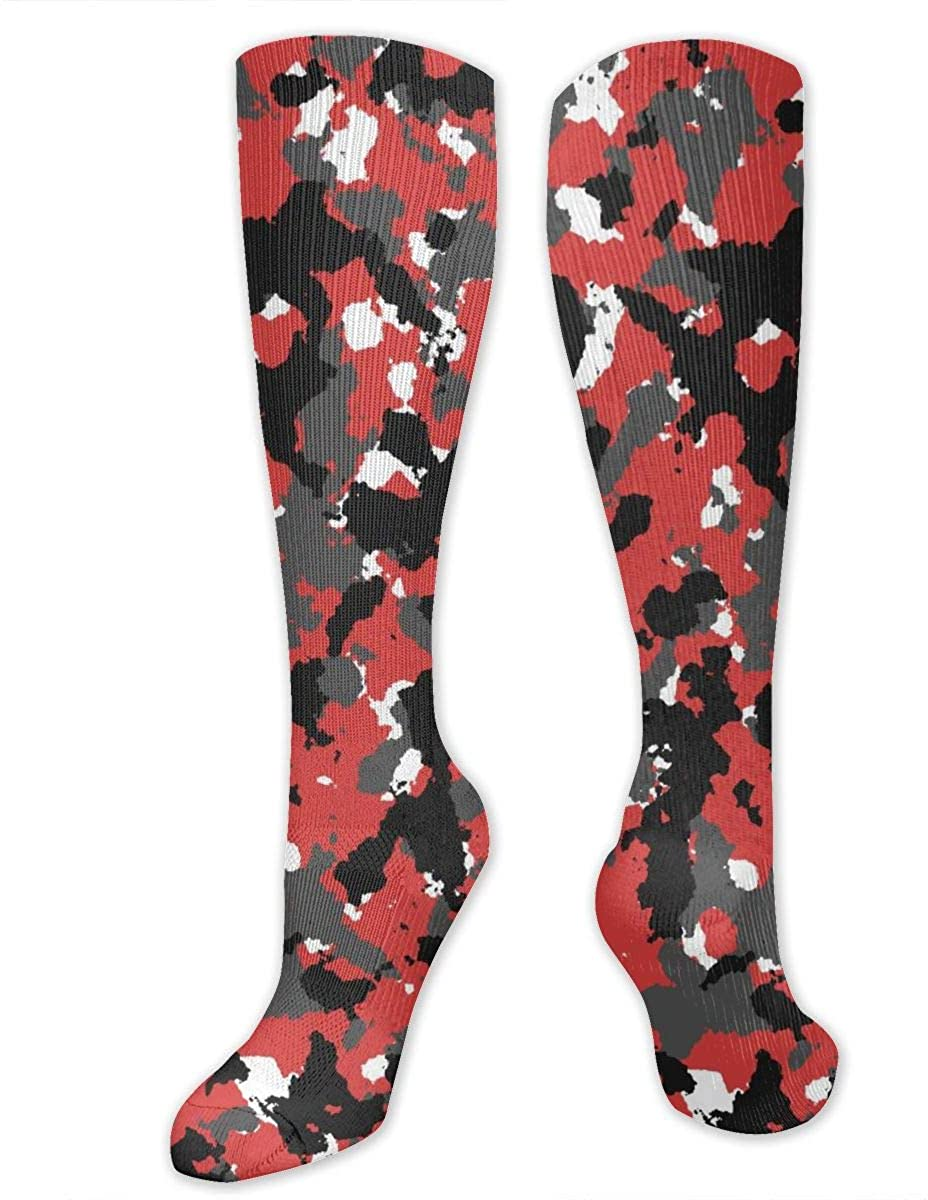 Men Lady Knee High Socks Red Camouflage Boot Tube Crew Long Hose Thigh Stockings