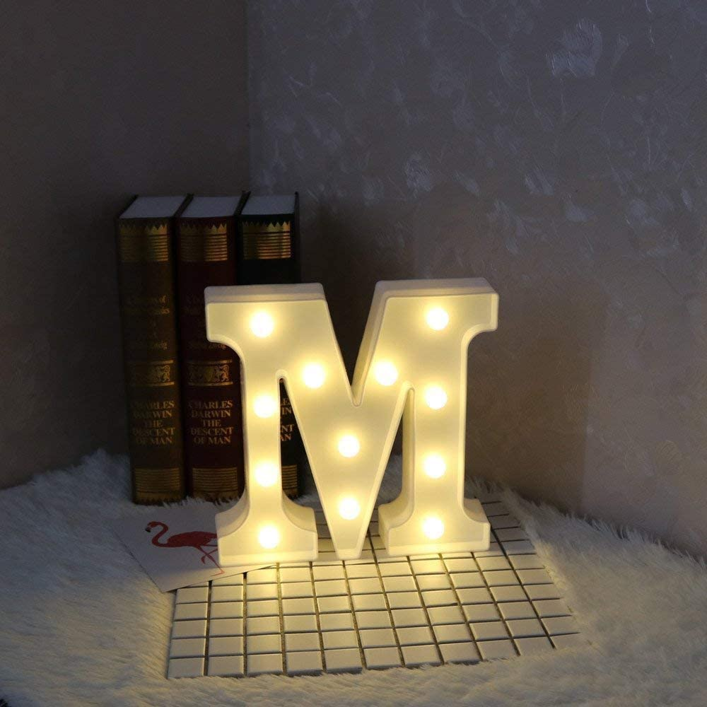 Plastic LED Marquee Letter Number Lights White Led Alphabet Light Up Sign with Diamond Bulbs 2AA for Confession Wedding Party Birthday Christmas Home Bar Decoration (M)