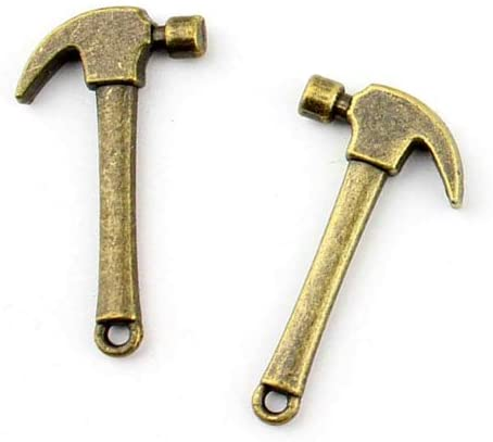 Price per 20 Pieces Jewelry Making Charms CECS0 Hammer Pendant Ancient Bronze Findings Craft Supplies Bulk Lots