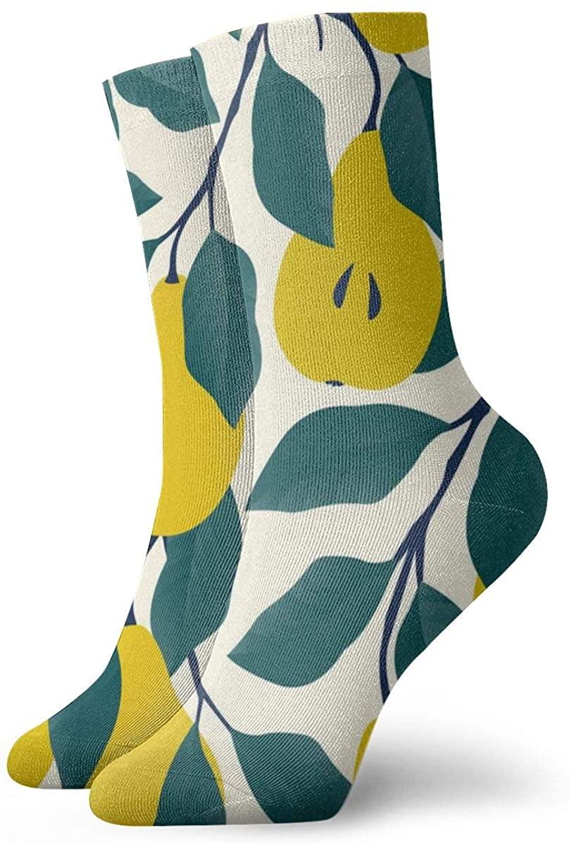 Pattern With Yellow Pear Fruit Short Crew Socks Dress Socks Athletic Socks