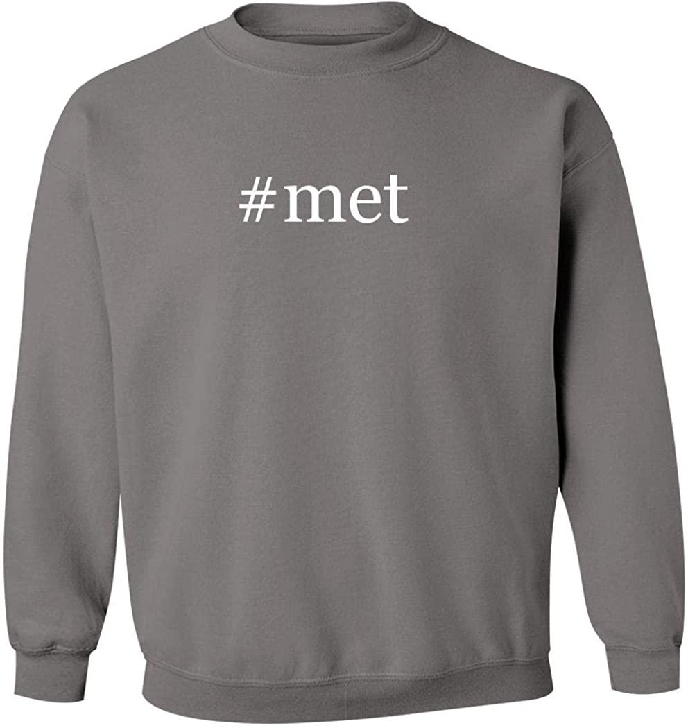 #met - Men's Hashtag Pullover Crewneck Sweatshirt, Grey, X-Large