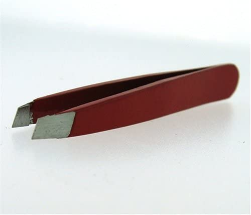 2 Inch Mini Tweezers Slanted Solid/Classic Design - Color RED