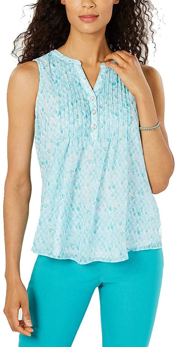 Charter Club Womens Petite Seahorse-Print Pintucked Top (Aqua Gloss Combo, Petite Large)