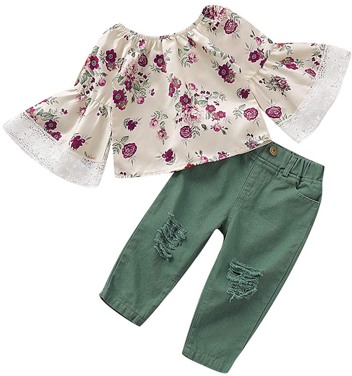 Toddler Baby Girl Clothes Kids Fall Outfits Long Sleeve Floral Print Top + Pant 2PCs Clothing Set