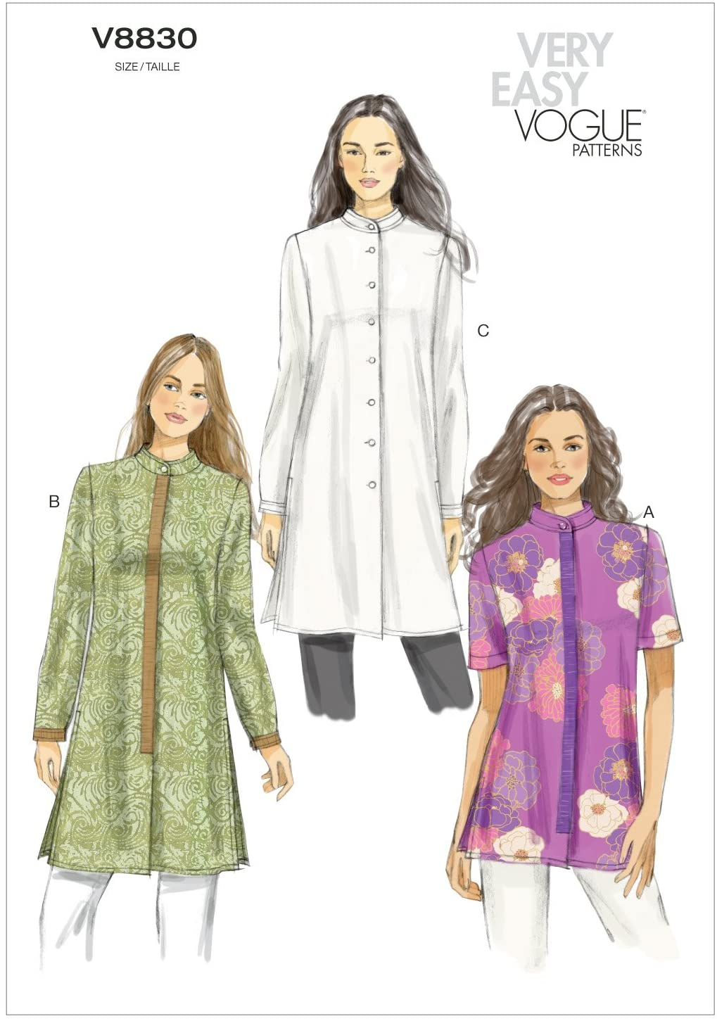 Vogue Patterns V8830B50 Misses' Tunic Sewing Pattern, Size B5 (8-10-12-14-16)