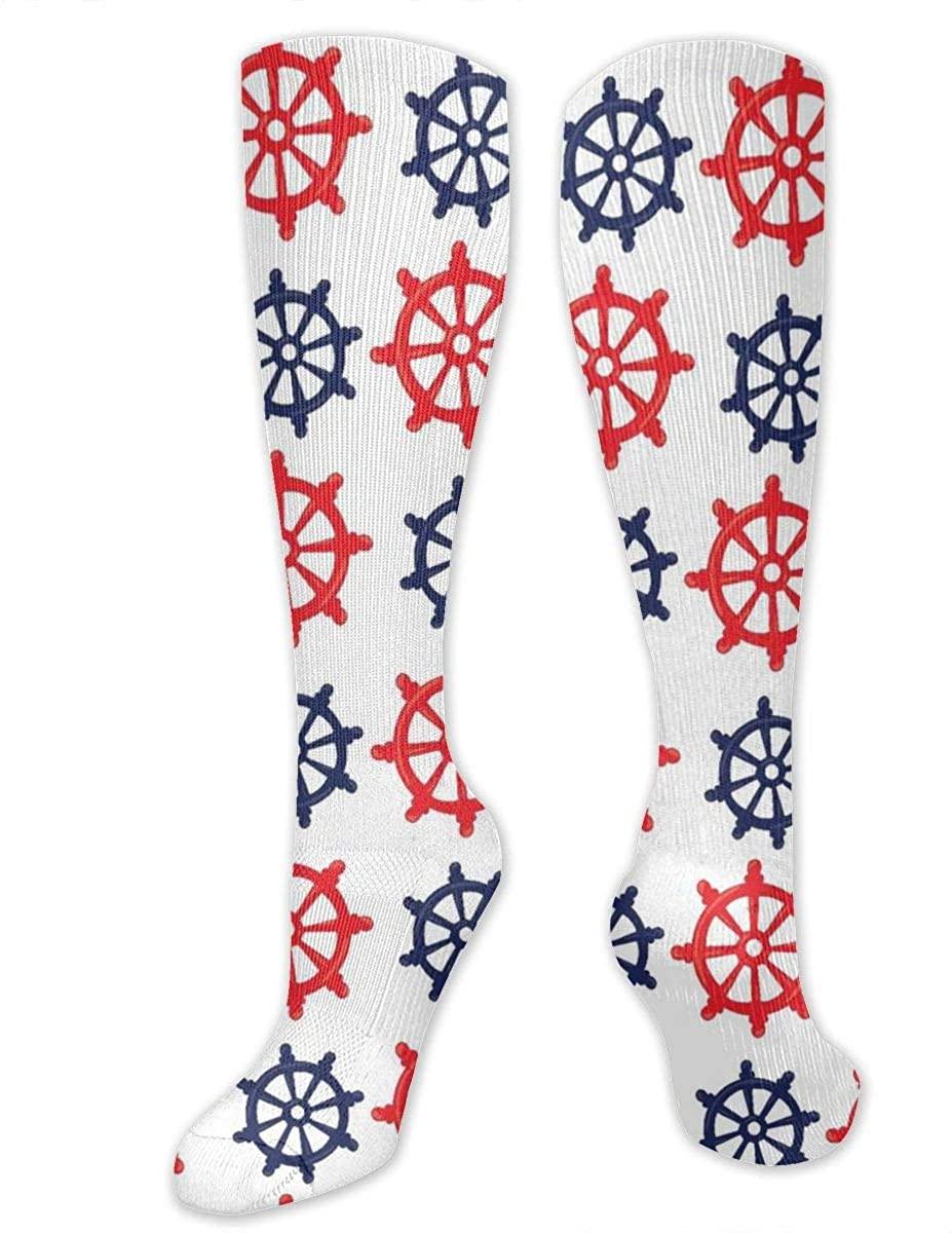 Men Women Knee High Socks Nautical Captain Rudder Wheels Boot Tube Hose Long Stockings