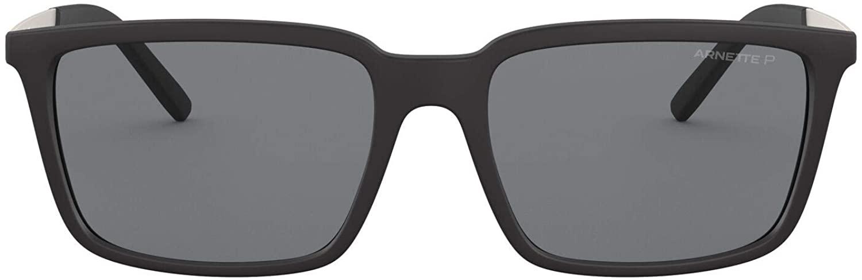Arnette Men's AN4270 Calypso Rectangular Sunglasses, Matte Black/Grey Polarized, 56 mm