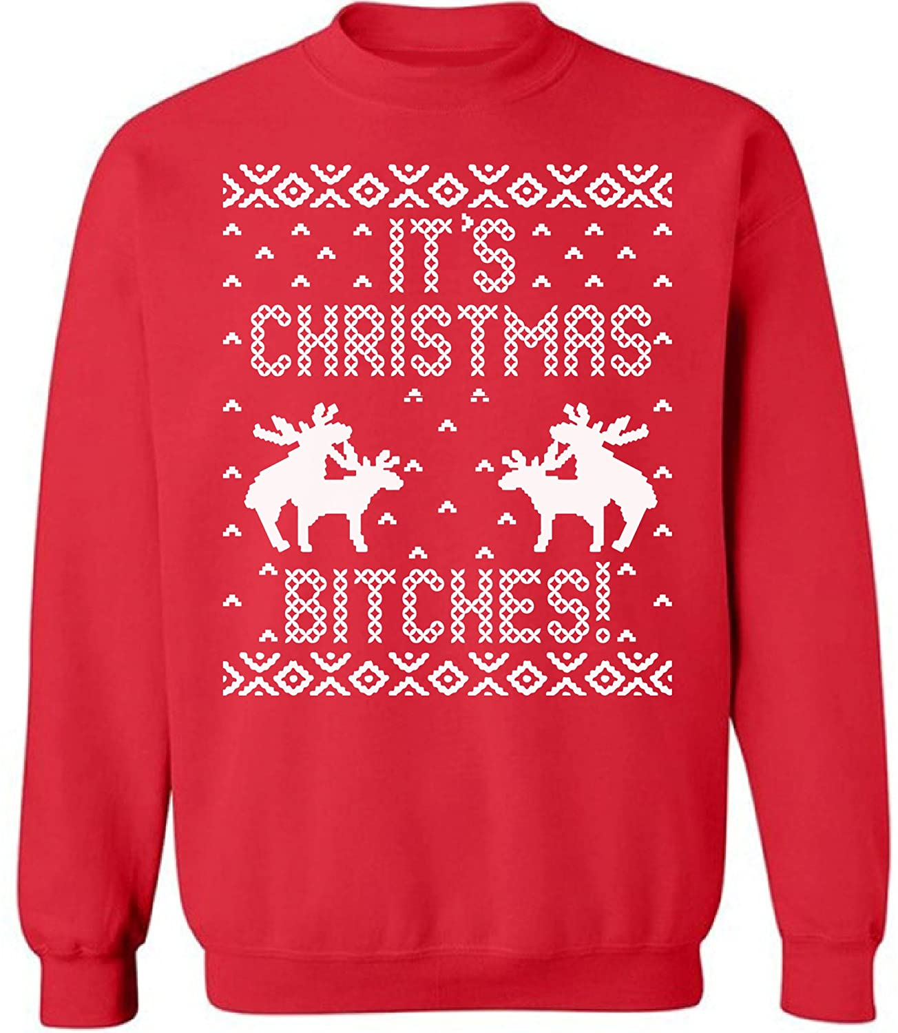 Pekatees Ugly Xmas Top Sweatshirt Hilarious Holiday Pattern Christmas Bitches Sweater