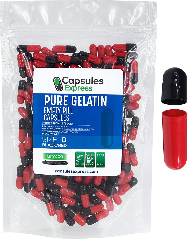 Capsules Express- Size 0 Black and Red Empty Gelatin Capsules - Kosher - Pure Gelatin Pill Capsule - DIY Powder Filling (100)