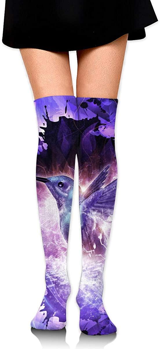 Knee High Socks Purple Hummingbird Women's Athletic Over Thigh Long Stockings