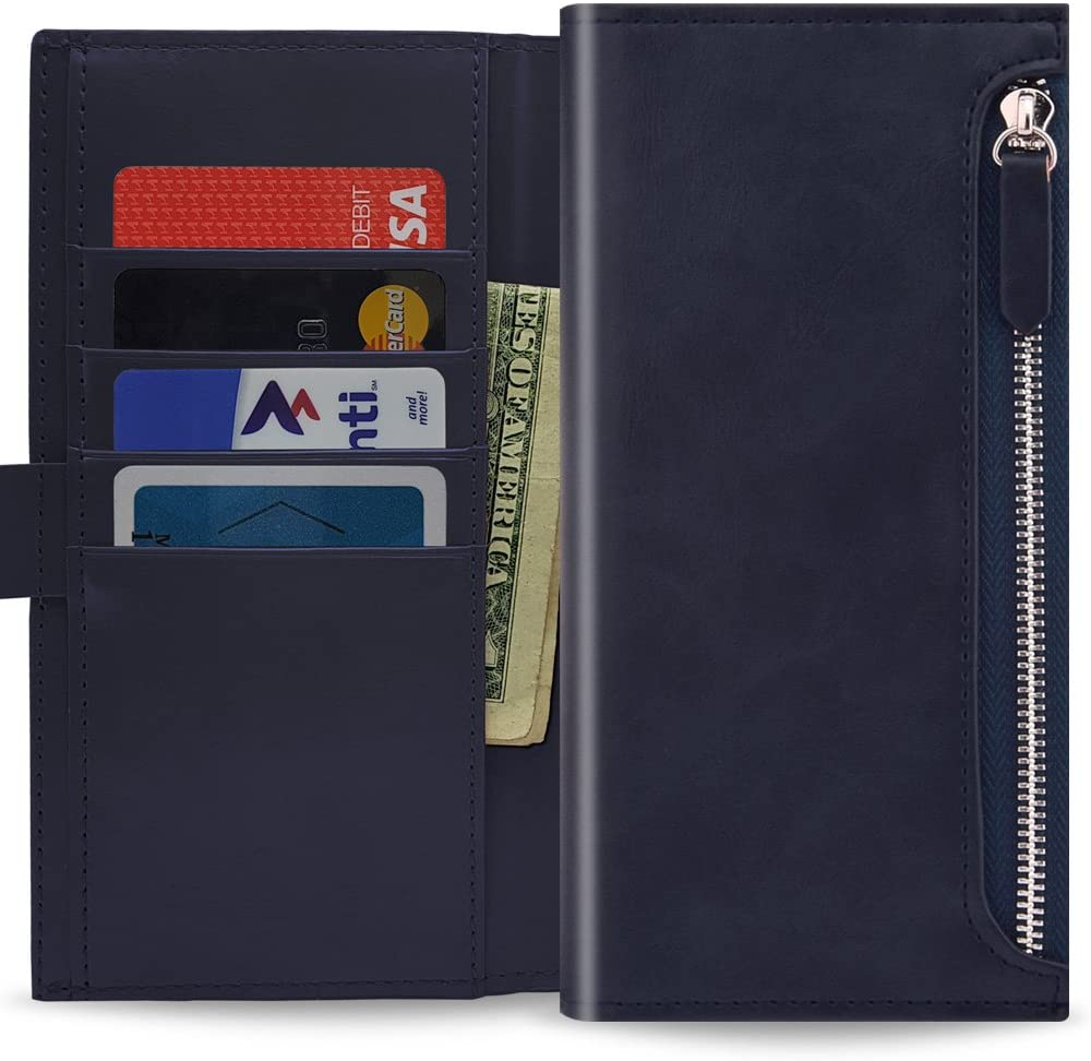 Qoosan Galaxy Note 8 Zipper Wallet Case, Leather Flip Cover with Card Holder, Dark Navy