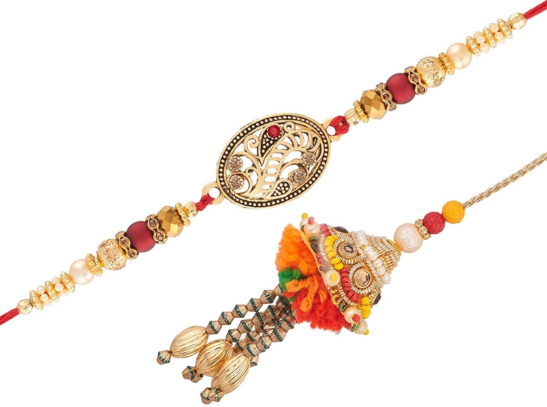 Lumba Rakhi Set | Rakhi Bracelet for Brother Bhabhi | Beads Rakhi Design | Raksha Bandhan | Handmade Rakhi for Kids | Faux Beads Stones | Multicolor Rakhee for Bro | Designer Thread Bracelet