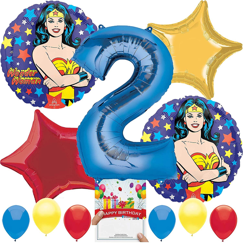 Wonder Woman Party Supplies Balloon Decoration Bundle for 1st Birthday