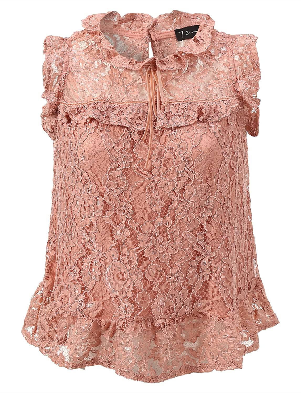 7 Encounter Women's Plus Size Sleeveless Lace Blouse Top