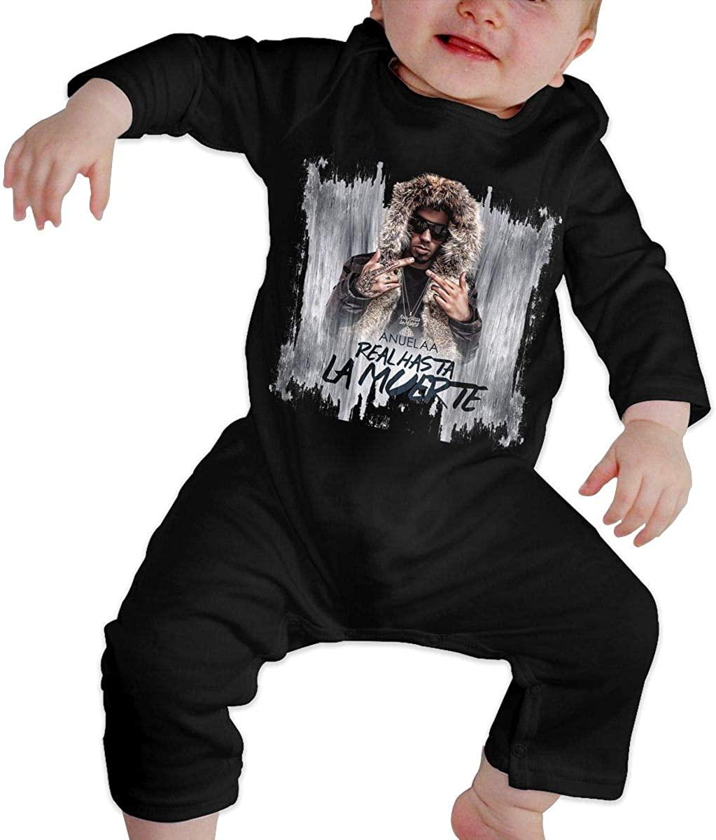 Watkinsmarket Anuel-AA Baby Boy Girl Jumpsuit Jumpsuit Baby Newborn Cotton Long Sleeve Jumpsuit Black