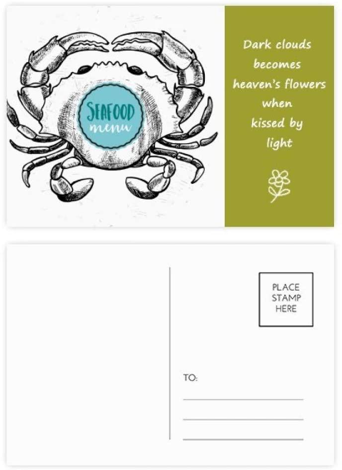 Crab Sketch Marine Organism Illustration Poetry Postcard Set Thanks Card Mailing Side 20pcs