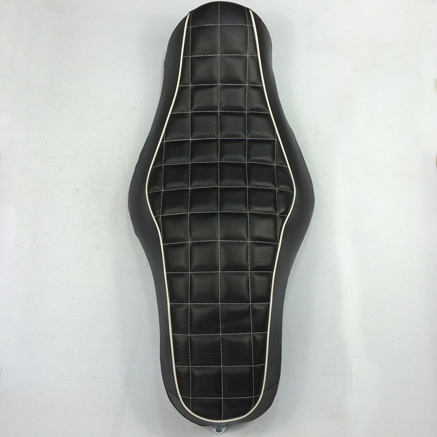 Motorcycle Black Custom Driver Passenger 2-up Checks Style Leather Seat For 2010 2011 2012 2013 2014 2015 Harley Davidson XL1200X X48 X72