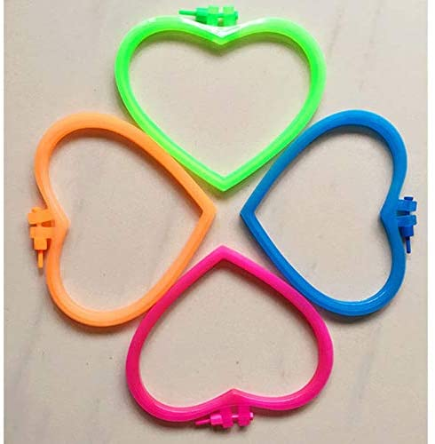 ShineBear 1PC Plastic Heart Pattern Embroidery Frame Cross Stitch Hoop Set Embroidery Hoop Ring Professional DIY Sewing Tools Random Color