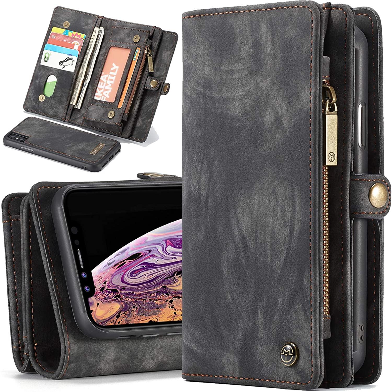 Wallet Case iPhone X/Xs/XR/Xs Max 2-In-1 Magnetic Zipper Purse Detachable Slim Folio Cover 11 Card Slots 3 Cash Pocket