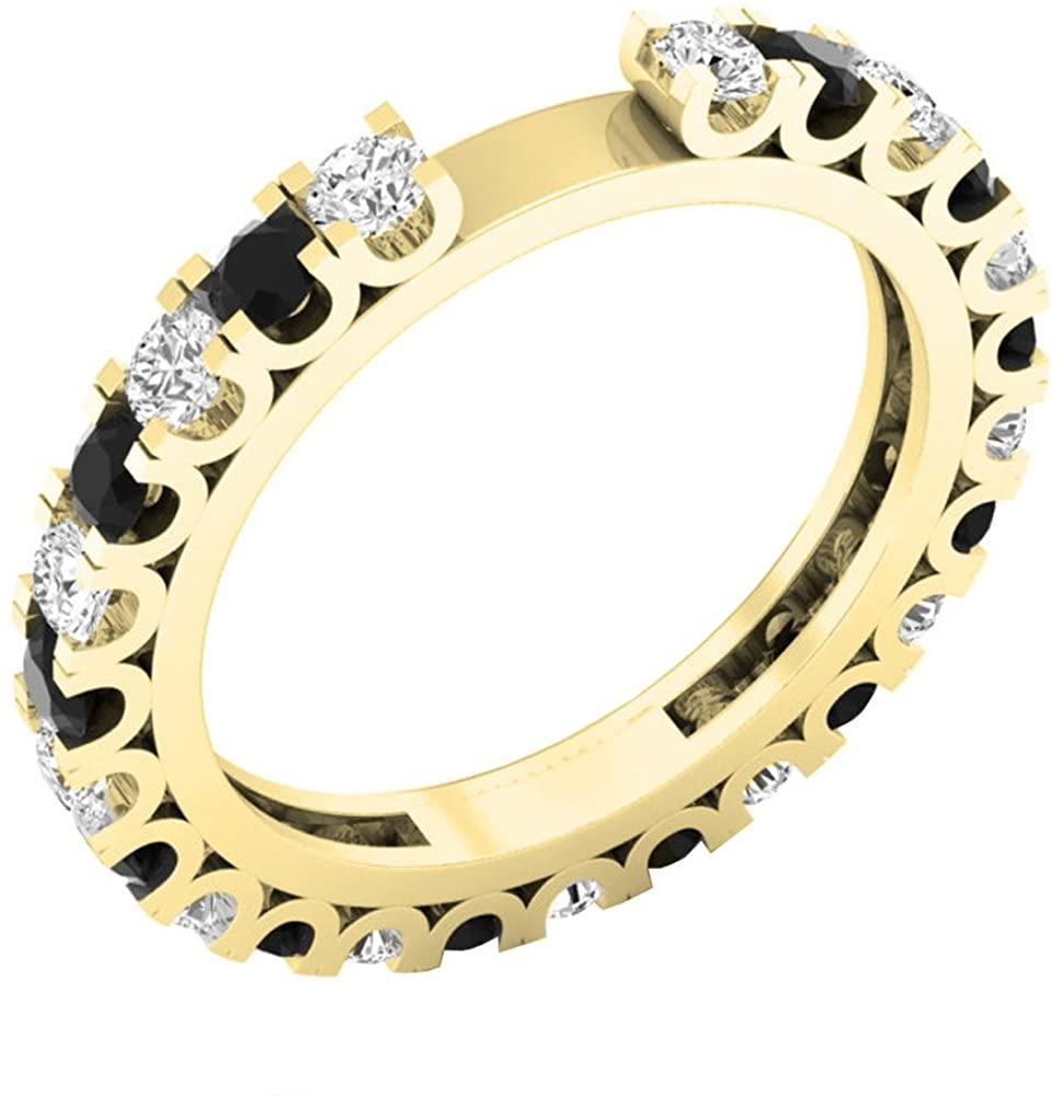 Dazzlingrock Collection 1.15 Carat (ctw) 10K Gold Round Black & Diamond Ladies Stackable Wedding Band Guard Ring