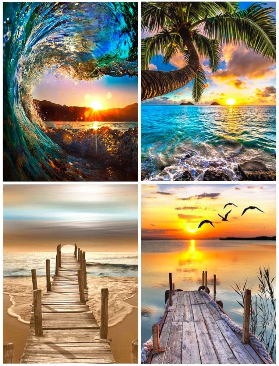 4 Pack DIY 5D Diamond Painting Kits for Adults Full Round Drill, Embroidery Paints Pictures Arts Craft for Home Wall Decor Gift,Painting Dotz Landscape 11.8 x 15.7 inch