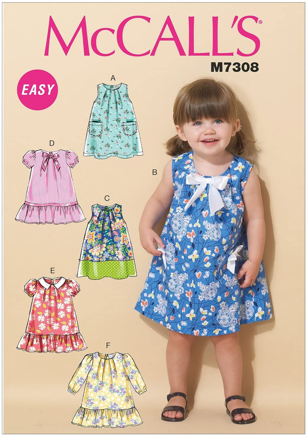 McCall's Patterns M7308 Toddlers' Tent Dresses, CCB