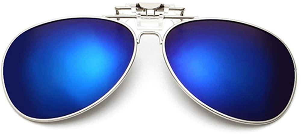Clip On Flip Up Sunglass for Glasses,UV400 Polarized Mirrored Eyeglass for Myopi Lens,Aviator Style Sunglass