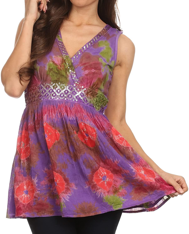 Sakkas Allena Sequin Embroidered Sleeveless Elegant V-Neck Blouse/Top