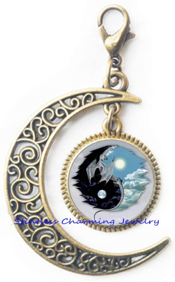 Dragon Yin-Yang Lobster Clasp Astrology Zipper Pull Jewelery Charm Lobster Clasp for Him or Her,Art Glass Dome Lobster Clasp,Bridesmaid Gift Birthday gift-JV207