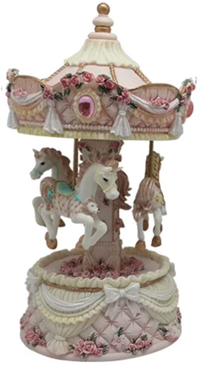 Kaybox Classic Romantic Resin Rotating Music Box Home Decorations (Pink)