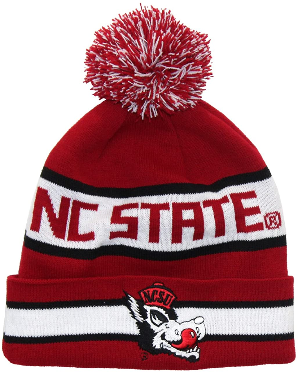 Tradition Scarves NC State Wolfpack Beanie - NCSU Hungry Wolf Retro Pom Beanie