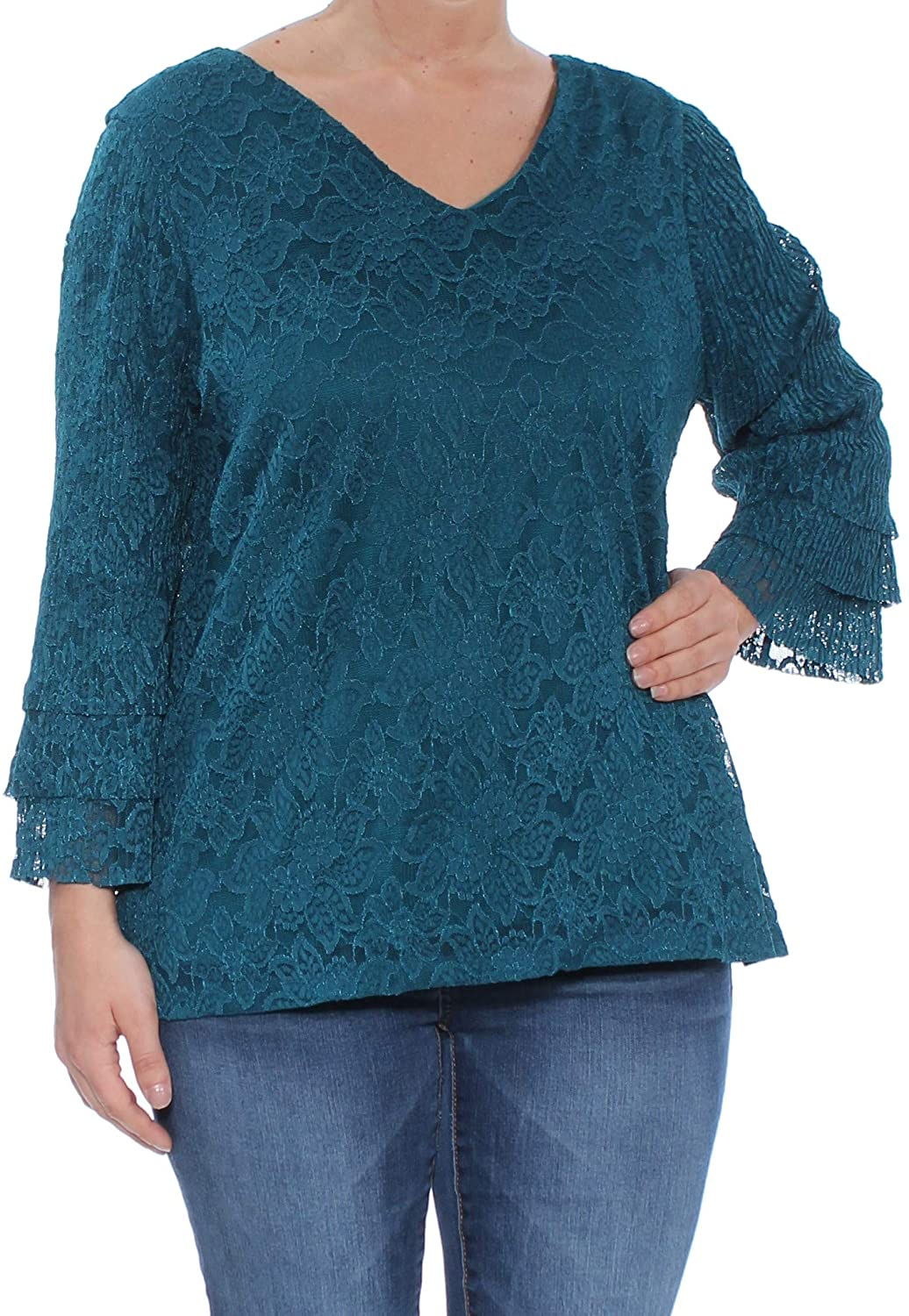 Charter Club Tiered Lace Top (Deep Pine, L)