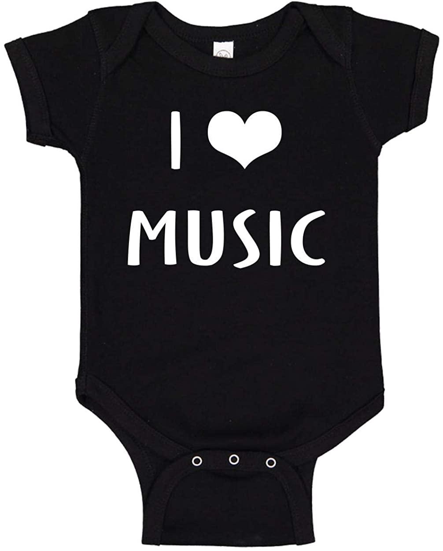 Infant Funny Baby Bodysuit Unisex T-Shirt (I Love (Heart) Music) Novelty