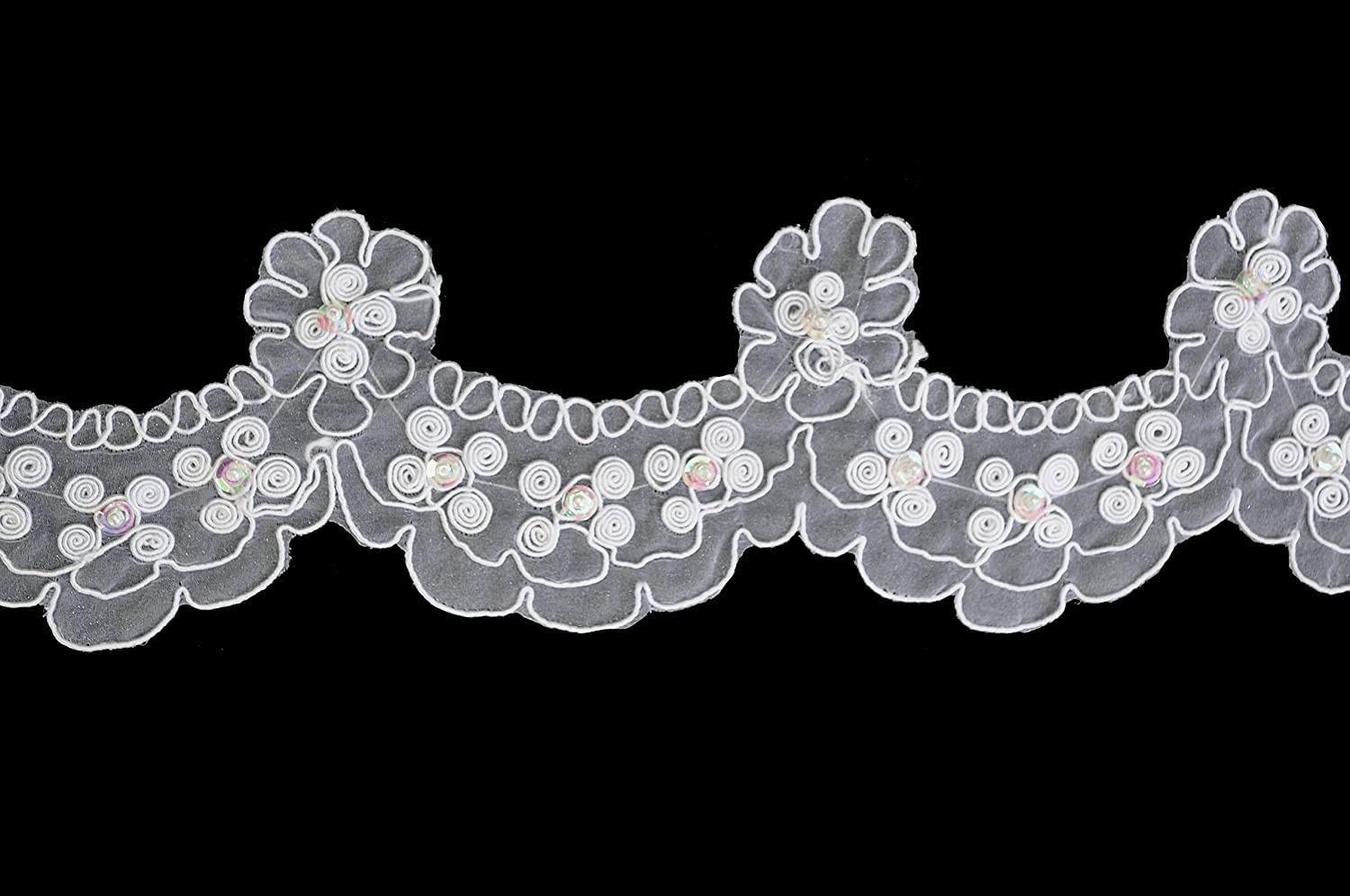 Altotux 3 White Sheer Corded Sequins Floral Lace Scalloped Edge By Yard